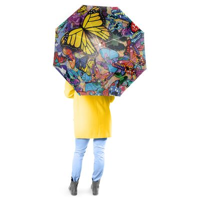 Butterfly Frenzy Full Size Canopy Umbrella with Auto Extend