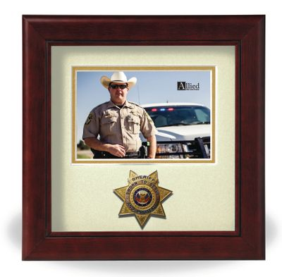 "Sheriff Medallion 8"" x 8"" Horizontal Open Picture Frame - Mahogany"