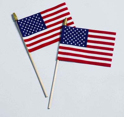 "4"" x 6"" American Stick Flag w/ Spear - Cotton No Fray U.S. Stick Flag"