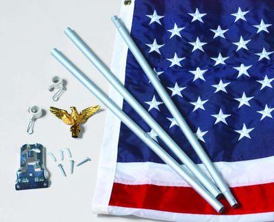 U.S.Flag Set - 3' x 5'  Embroidered Nylon Flag and 6' Aluminum Flag Pole