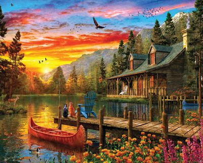Cabin Evening Sunset 1000 Piece Puzzle