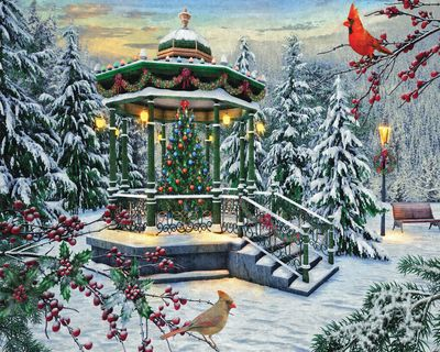 Holiday Gazebo 1000 Piece Jigsaw Puzzle for sale by Springbok Puzzles.