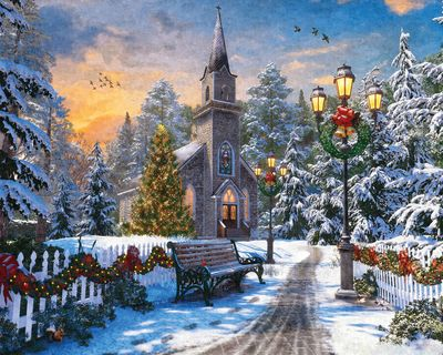 Holiday Church 1000 Piece Jigsaw Puzzle for sale by Springbok Puzzles.
