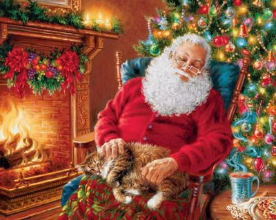 Santa's Cat Nap 120 Piece Mini Jigsaw Puzzle
