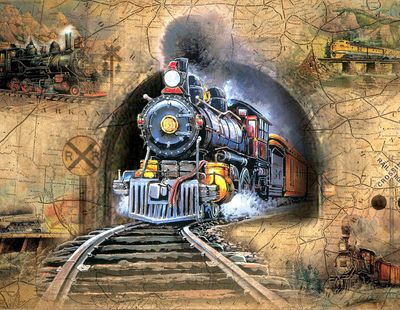 Full Speed Ahead! 500 Piece Train Puzzle