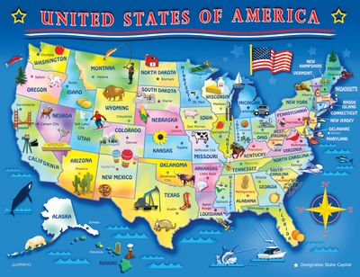 USA Map 60 Piece Jigsaw Puzzle