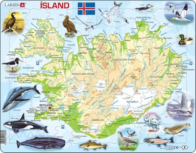Iceland Map with Animals Children's Educational 81 Piece Jigsaw Puzzle