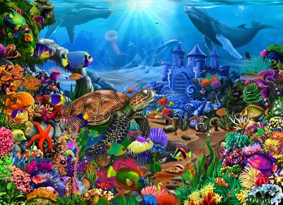 Underwater Seascape 500 Piece Wooden Jigsaw Puzzle