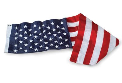 U.S. Flag w/ Sleeve & Leather Tabs - 4' x 6' - Nylon