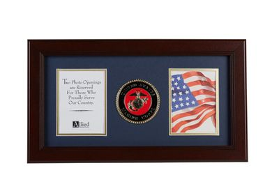 U.S. Marine Corps Medallion 4-Inch by 6-Inch Double Picture Frame
