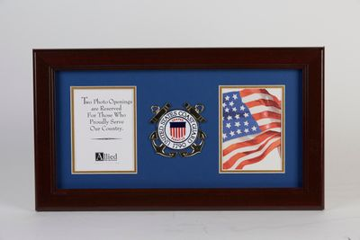 U.S. Coast Guard Medallion 4-Inch by 6-Inch Double Picture Frame