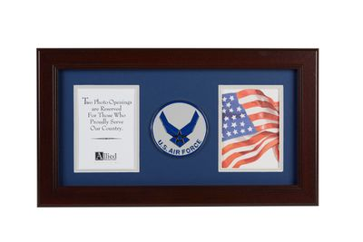Aim High Air Force Medallion 4-Inch by 6-Inch Double Picture Frame