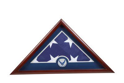 US Flag Display Case with Aim High Air Force Medallion