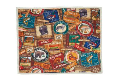 Lodge Signs Sherpa Blanket