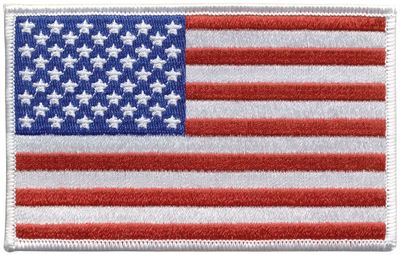 """U.S. Flag Left-Hand Embroidered Patch - 2"""" x 3"""" - White Trim"""