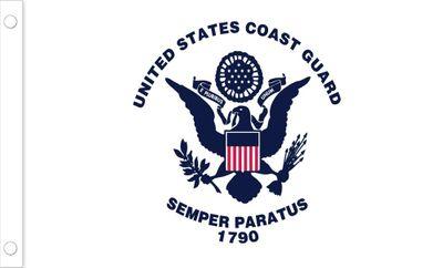 U.S. Coast Guard Flag w/ Pole Hem & Fringe - 4' x 6' - Nylon
