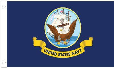 "U.S. Navy Stick Flag - 4"" x 6"" - Endura-Gloss"