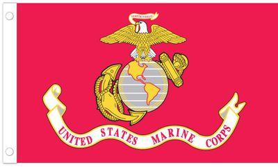 U.S. Marines Flag w/ Pole Hem - 3' x 5' - Nylon