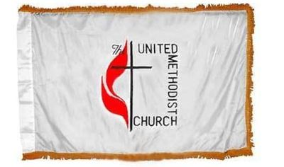United Methodist Indoor Flag w/ Pole Hem - 3' x 5' - Nylon
