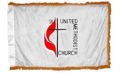 United Methodist Indoor Flag w/ Pole Hem - 4' x 6' - Nylon