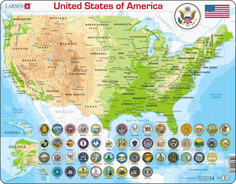 United States Map 90 Piece Children S Educational Jigsaw Puzzle